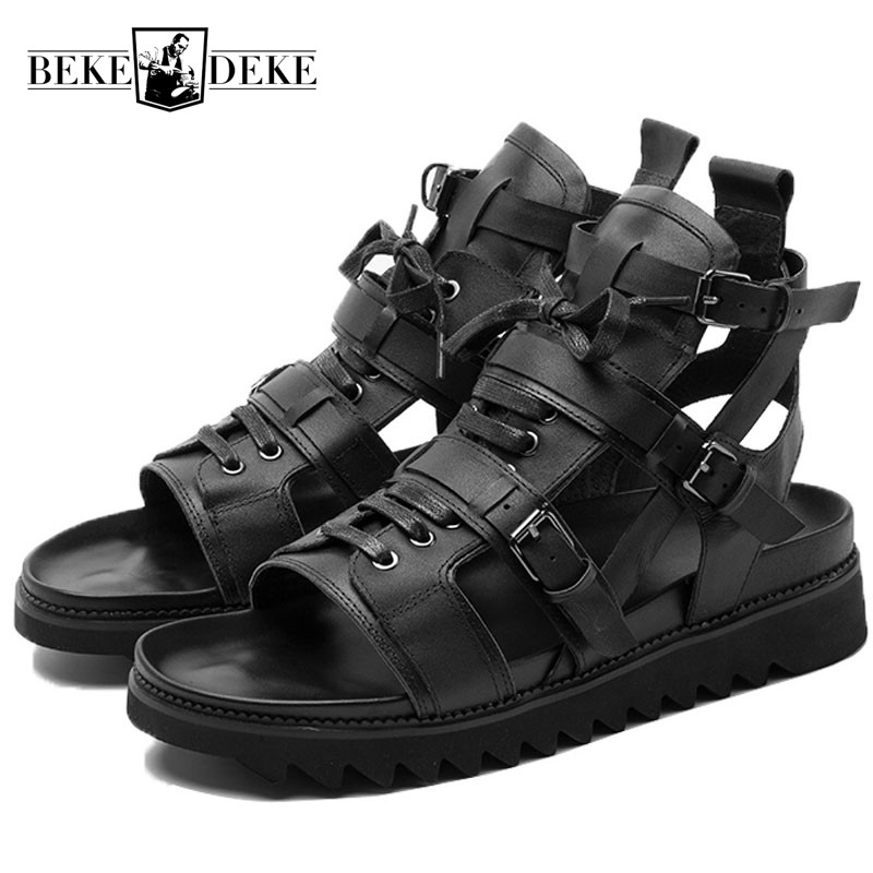 High Top Leather Gladiator Sandals Men 2018 Summer Beach Shoes Top Quality Brand Outdoor Breathable Sneakers Sandalia Masculina
