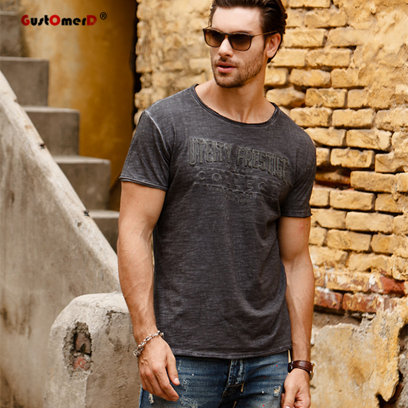 GustOmerD New Summer Men Printed   T     shirts   Fashion Cotton Brand Clothes Mens Slim Fit Short Sleeve Tops Mens Casual   T     Shirts