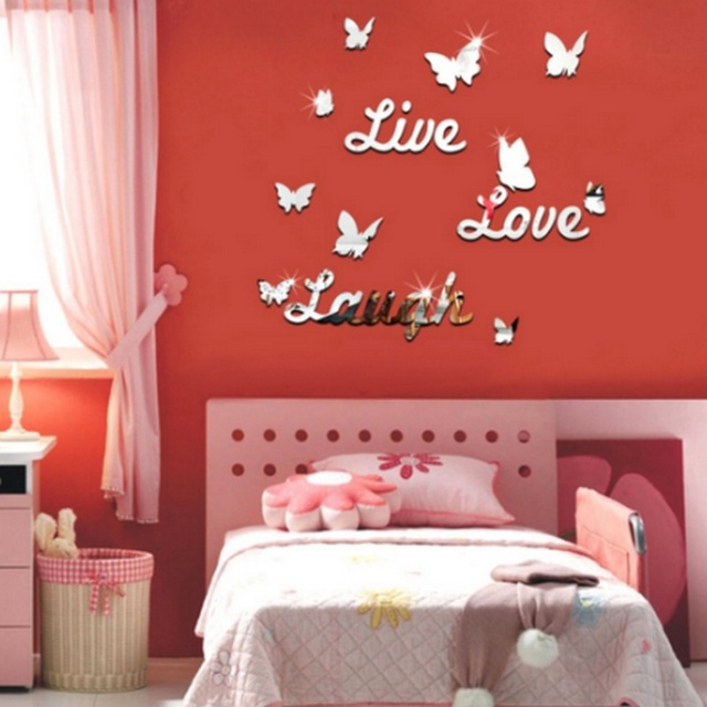 Butterfly and English Letter Fashion Modern Acrylic Mirror Wall ...