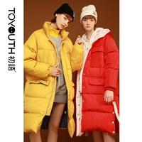 Toyouth пуховик с капюшоном длинные пальто пуховики для Для женщин зимние пуховые пальто плюс Размеры пальто утепленные повседневные длинные