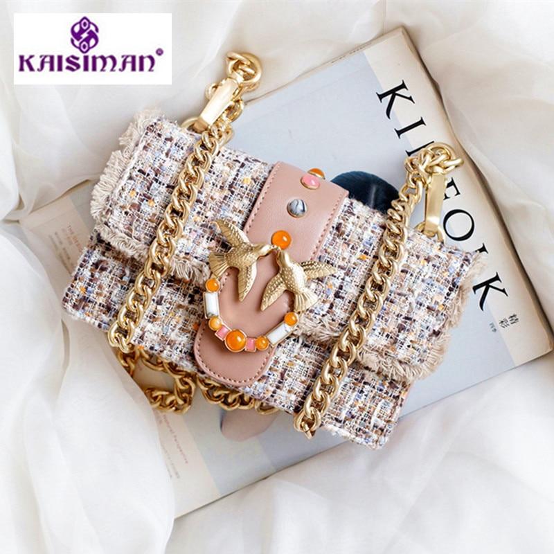 Luxury Women Handbags Woolen Stitching Chain Swallow Bag Ornament Gem Crossbody Bag Famous Designer Genuine Leather Shoulder Bag все цены