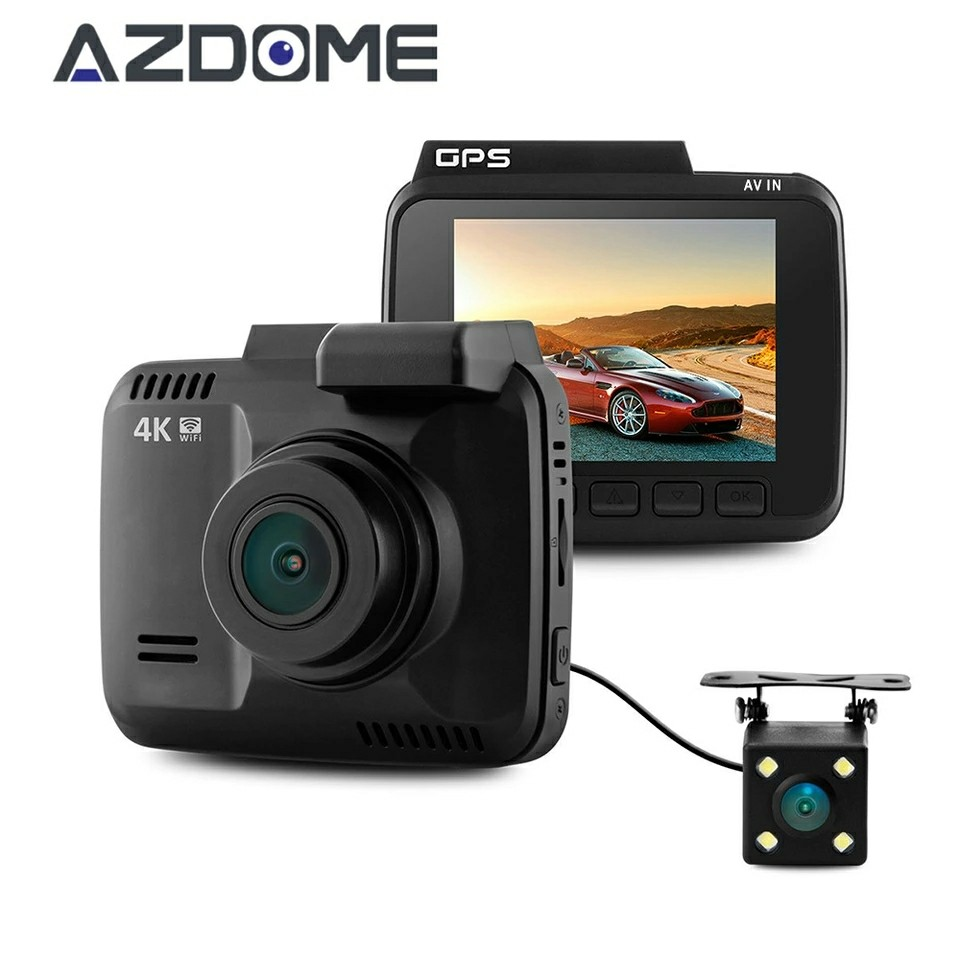 Azdome Dual Lens GS63H WiFi FHD 1080P Front Dash Cam Novatek 96660 Camera Built in GPS + VGA Rear Car DVR Recorder 2880 x 2160P bigbigroad for nissan qashqai car wifi dvr driving video recorder novatek 96655 car black box g sensor dash cam night vision