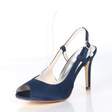 cfb1cdf9af Creativesugar open toe slingback satin evening dress shoes bridal wedding  party prom pumps navy blue white