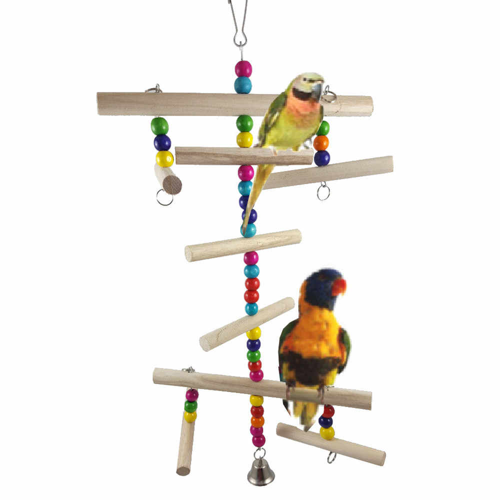 Pet Bird Parrot Parakeet Budgie Cockatiel Cage Climbing Ladder Hammock Swing Toys Hanging Toy bird accessories