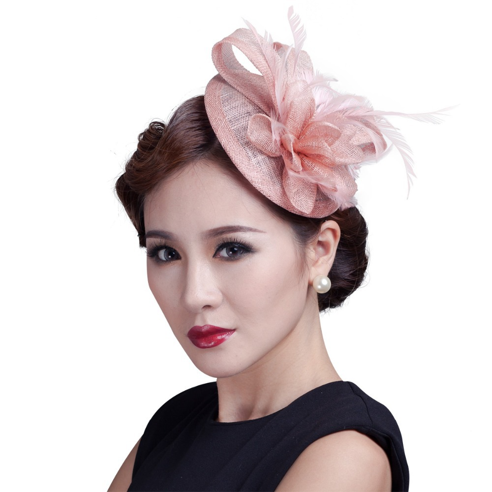 acace18af0d Aliexpress.com   Buy high quality 2018 mini disc flower sinamay fascinator  with feather for race   wedding multicolor in stock! from Reliable sinamay  hat ...