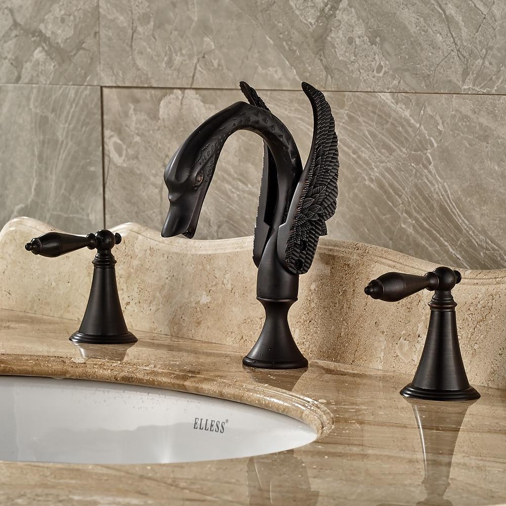 Black Color Bathroom Sink/Tub Faucet Dual Handles 3 Holes Deck Mounted Mixer Tap Oil Rubbed Bronze