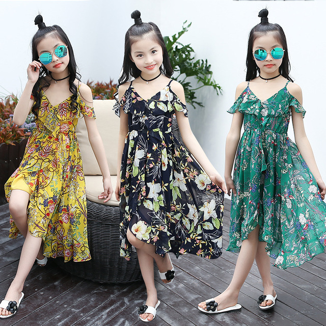 Flower S Chiffon Dress Summer Bohemian Style Children Princess Clothing Kids Beach Clothes Sleeveless Dresses For