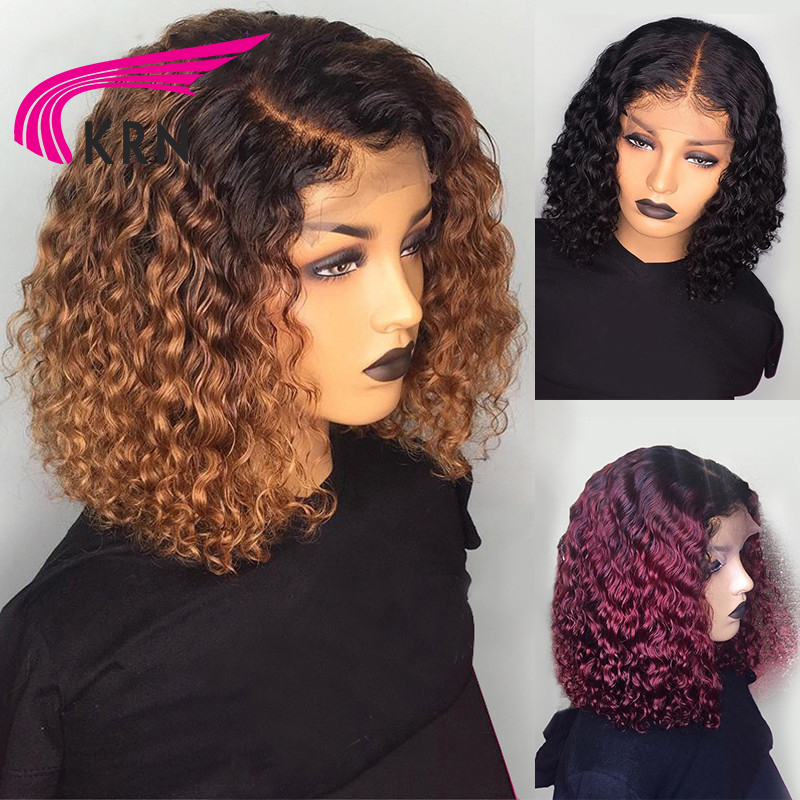 KRN 13x6 Lace Front Curly Human Hair Wigs Remy Hair With Baby Hair With Preplucked Hairline For Women  Freeshipping