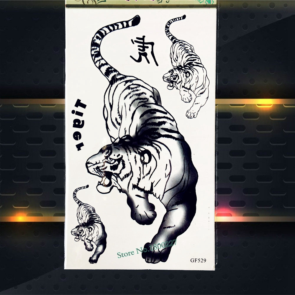 Hot Tiger Beast Waterproof Temporary Removable Tattoo Men Totem Body Art Painting Tattoo Stickers PGF529 Fake Flash Tattoos Kids