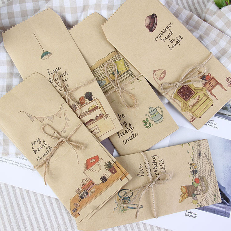50pcs Vintage Kraft Paper Bags Retro Paper Envelopes With Hemp String Party Favor Gift Packaging Bag Wedding Decoration