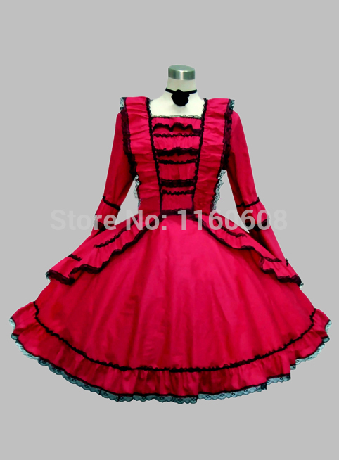 Gothic Wine Red Knee Length Victorian Era Dress