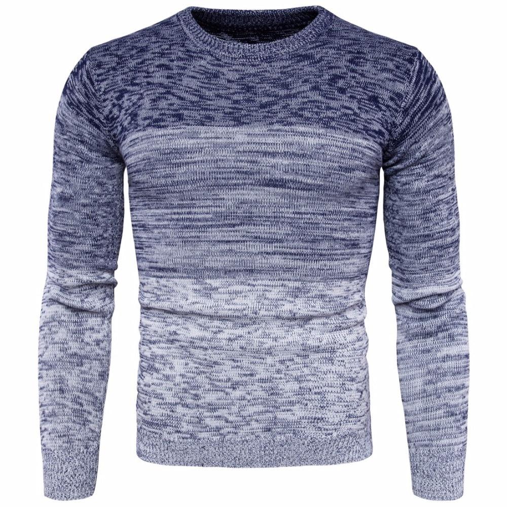 2017 Neue Herren Rundhals Farbverlauf Pullover Mode Männer Baumwolle Langarm Pullover Männlichen M-3xl Herbst Winter