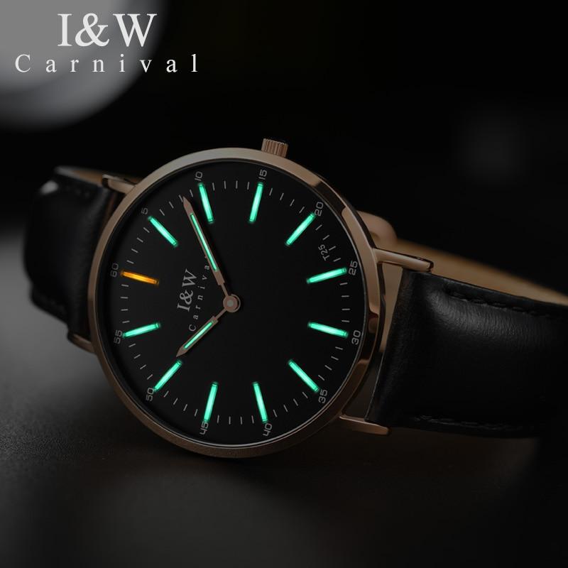 Karneval mode Tritium Leucht Uhren Top Marke Ultradünne Quarzuhr frauen wasserdicht Saphir einfache relogio feminino - 4