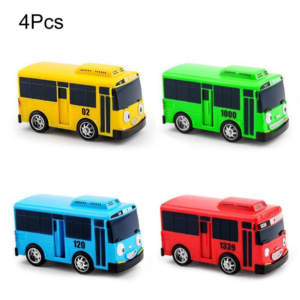 4 pz/pacco Del Fumetto Mini TAYO Bus Taxi Posteriore Giocattoli Educativi Per Bambini