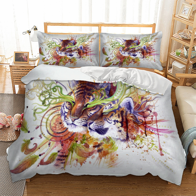 Tiger Couple Bedding Set Duvet Cover Pillow Cases Twin Full Queen King Super King Double Animal Bed Lines Bedcover Set 3pcs