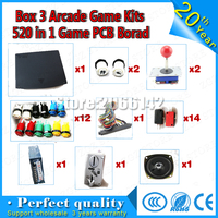 DiY 2 players Arcade game kit for game 520 in 1 PCB board CGA&VGA output with jamma wire harness joystick buttons coin acceptor