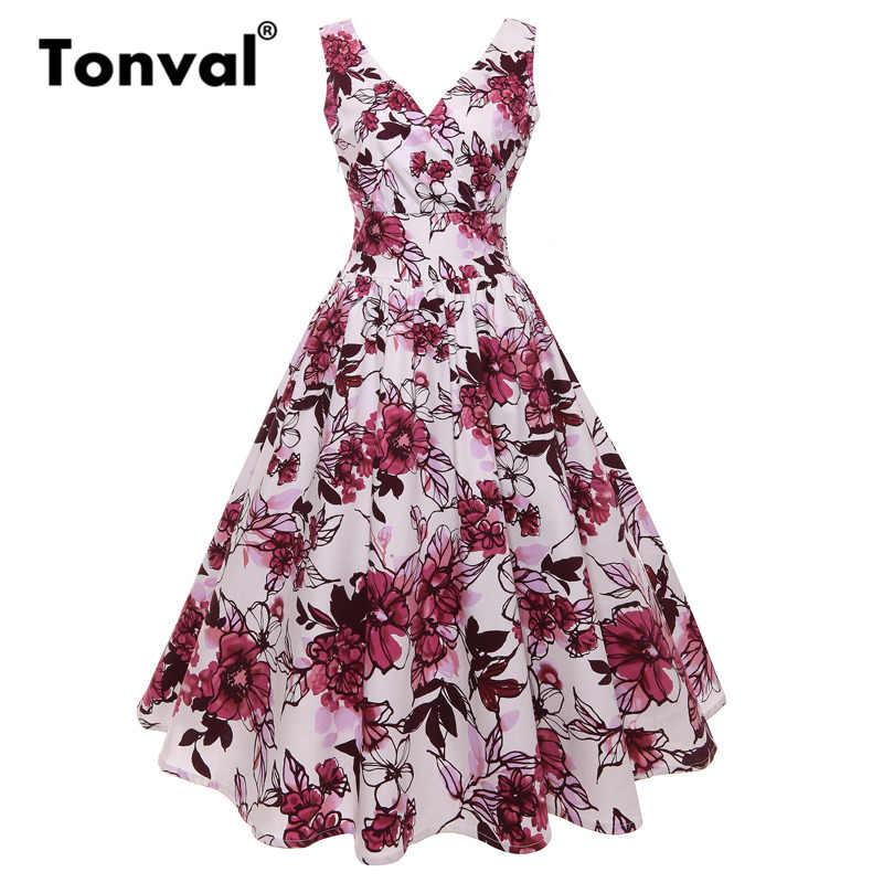 30579b44894 Tonval цветочный Винтаж платье Для женщин хлопок миди платья V шеи 1950 S  вечерние пикантные Летние