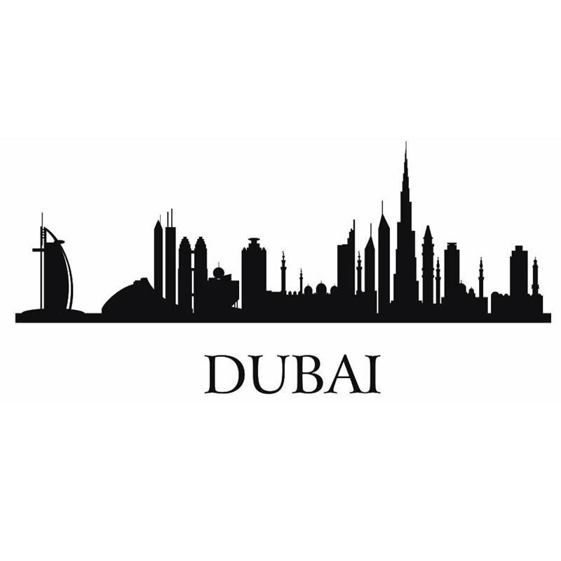ᗚDctal Dubai del horizonte de la etiqueta de la ciudad Adhesivos de ...