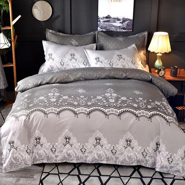 Lace Pattern Bedding Set 3pcs/2pcs Duvet Cover Pillowcase Pillow Sham Home Textile Adult King Queen Size No Sheet No Fillers 2