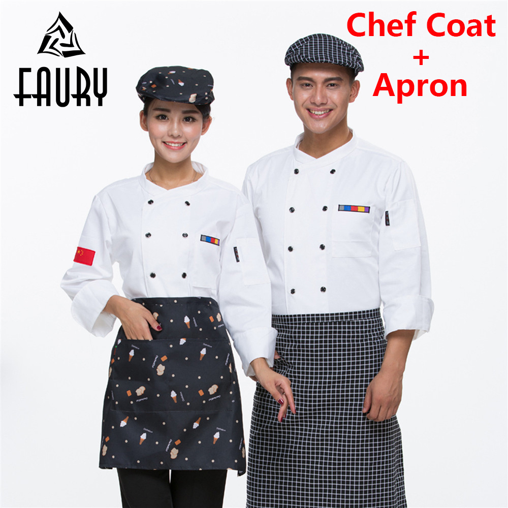 Unisex Chinese Style Catering Restaurant Chef Coats Kitchen Work Wear Clothes Long Sleeve Breathable Jacket Cook Uniforms Aprons
