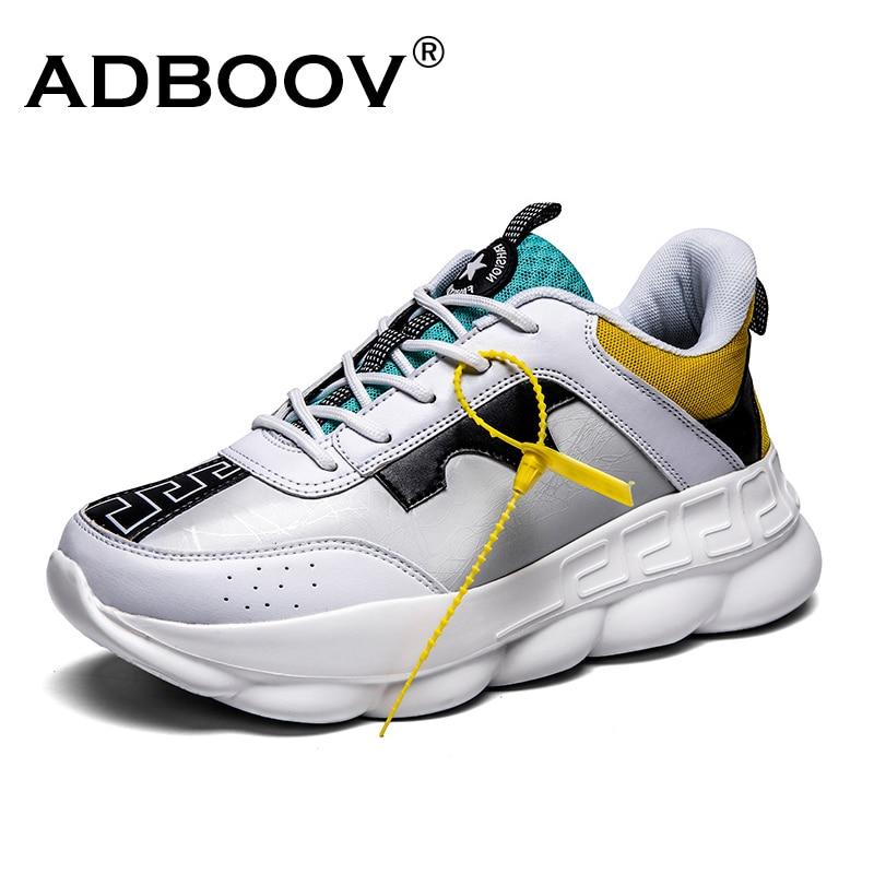 ADBOOV nuevo cuero de la PU de las mujeres Zapatillas de deporte Plus tamaño 35-42 plataforma zapatos de mujer altura creciente grueso Zapatillas de deporte Zapatillas Sujer