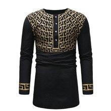 Adult Men Black Golden Geo Print Dashiki Print Top Shirt Screw O-Neck 1/2 Button Long Shirt African Wear Tunic For Men M-3XL geo print dress