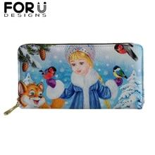 Cartoon Long Wallet for Women Purses Girls Snow Maiden Print Coin Purse Card Holder PU Leather Wallet Female Zipper Money Bag