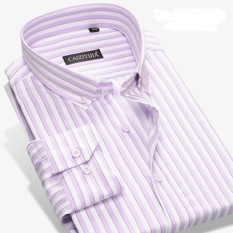 GREVOL 100% Cotton Coarse Striped Men's Dress Shirt Formal Business Social Shirts Non-Iron Long Sleeve Shirts High Quality