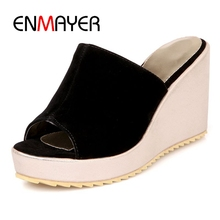 ENMAYER  Summer women sandals wedges ladies open toe round zipper black silver white platform shoes ZYL070