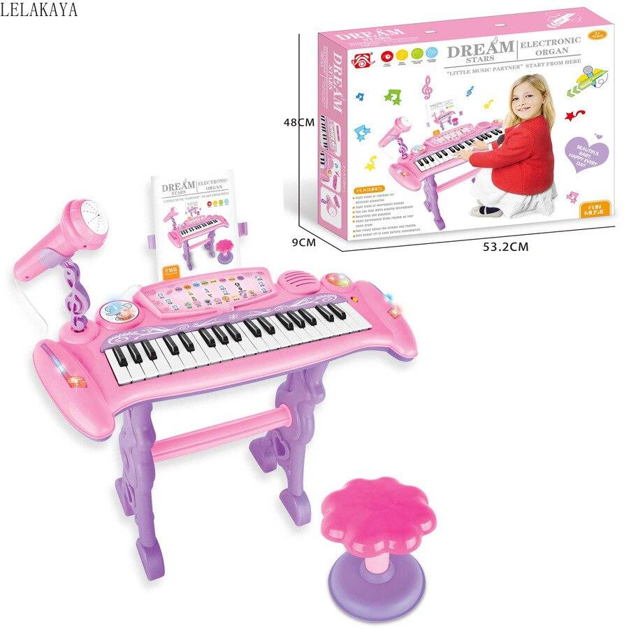 Bébé apprentissage début éducatif électronique Piano Simulation jouet Instrument de musique Microphone avec chaise créative musique poupée nouveau