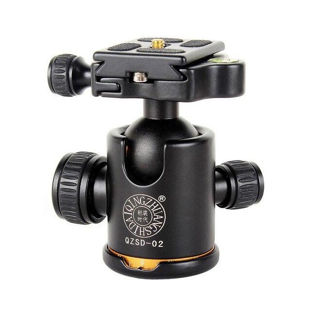 New QZSD-02 Aluminum Tripod Ball Head Ballhead + Quick Release Plate for Pro Camera Tripod, Max load to 15kg