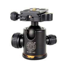 Rótula de bola de trípode de aluminio QZSD 02, placa de liberación rápida para trípode de cámara Pro, carga máxima de 15kg