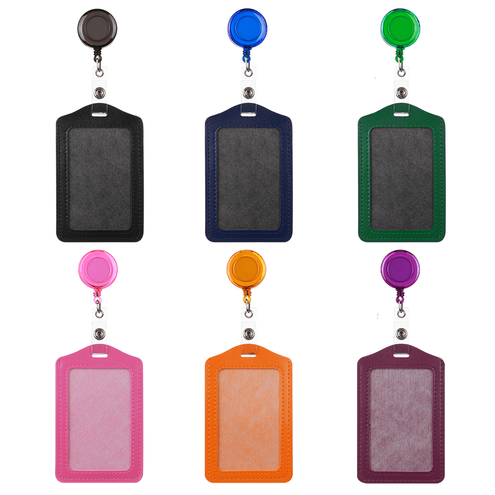 Protective-Shell Bank Reel Credit-Card-Holders Identity Retractable Yellow/blue Badge