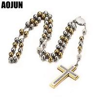 AOJUN Jesus Christ Cross Layered Necklaces Pendant Stainless Steel Beaded Long Sweater Chain Rosary Necklace For