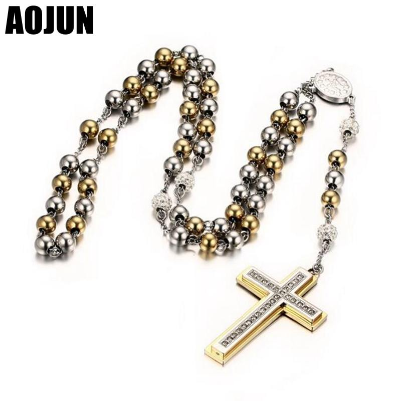 AOJUN Jesus Christ <font><b>Cross</b></font> Layered Necklaces Pendant Stainless Steel Beaded Long sweater Chain Rosary Necklace For Women Jewelry