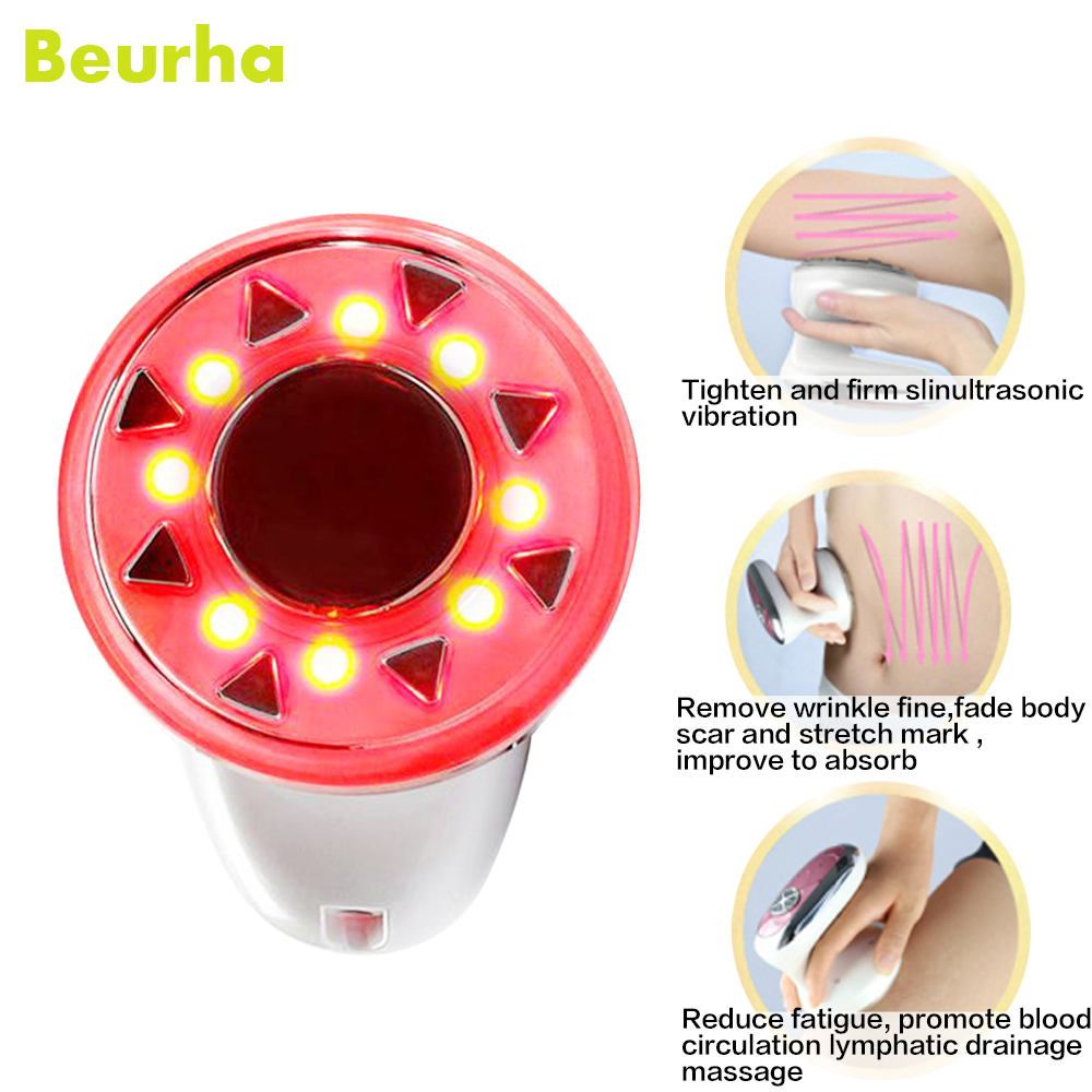 Beurha Body Slimming Massager Cavitation Fat Removal Photon Cellulite Lipo Radio Frequency Burner Anti RF Therapy Beauty Device 3 in 1 ultrasonic rf cavitation vacuum liposuction cellitule wrinkle fat reduction body sculpting slimming massager machine