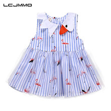 LCJMMO Girls Summer Dress Cartoon Flamingos Baby Dresses 2018 Blue Striped Party Princess Birthday Dress For Girl Kids Clothes