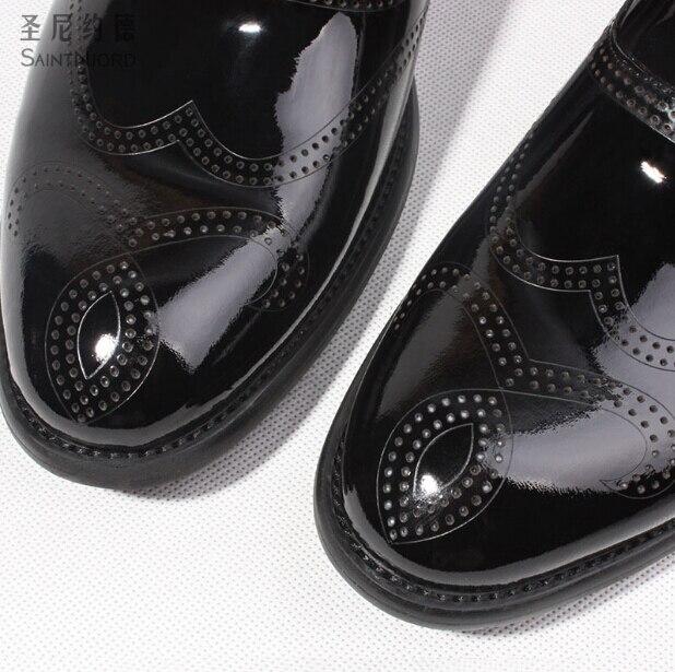 Couro Sapatos Estilo Italiana Preto Negócio Do Homens 44 Formal Esculpida Bullock Oxford Dos Casamento Shown As De Sapatas Vestido Britânico Brilhante awqttXd