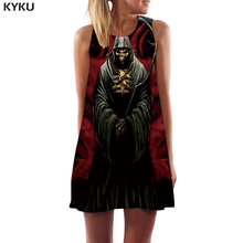KYKU Brand Skull Dress Women Grim Reaper Ladies Dresses Cosplay Short Metal Korean Style Black Sundress Womens Clothing Tassel