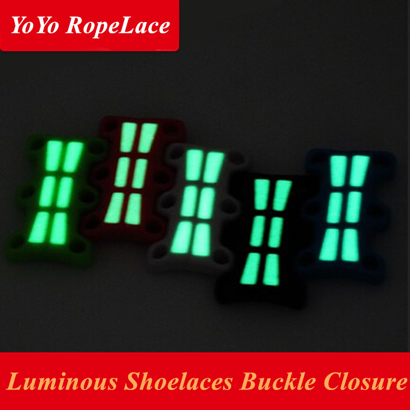 2018 2 Pcs Luminous Magnetic Buckles Closure Glowing Shoelaces Buckles No-Tie Magnetic Buckles for Shoe Laces