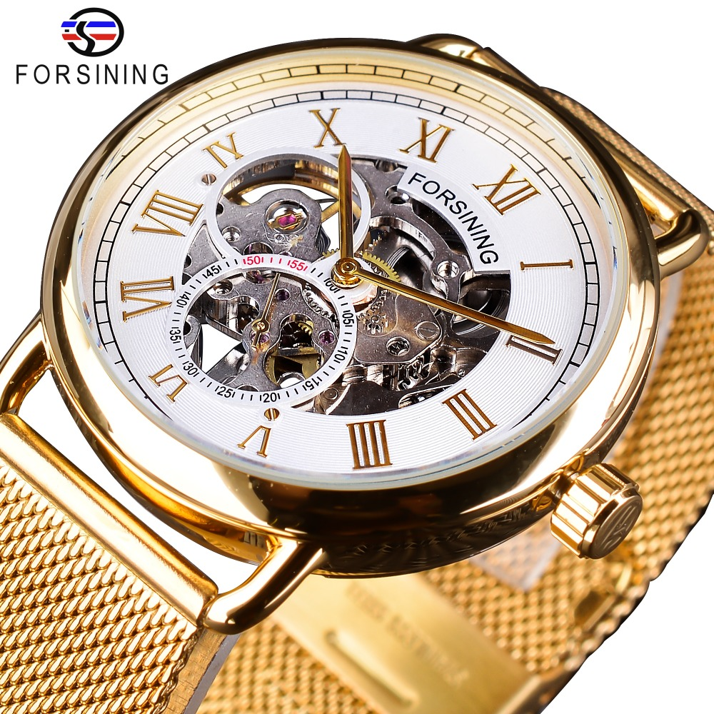 Forsining Fashion Mechanical Watches for Men Top Brand Luxury Classic Golden Mesh Band White Small Dial Waterproof Hook BuckleForsining Fashion Mechanical Watches for Men Top Brand Luxury Classic Golden Mesh Band White Small Dial Waterproof Hook Buckle