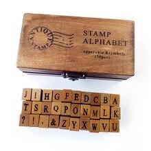 30 unids/set caja para manualidades de madera Vintage con letras del alfabeto diseño romántico mayúsculas y minúsculas conjunto de sellos de goma Retro