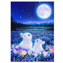 DIY diamond painting white rabbit couple moon full embroidery Mosaic cross stitch home decor