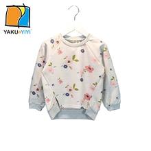 YKYY YAKUYIYI 2016 Brand New Autumn Girl Sweatshirt Sweet Floral Print Girls Pullovers Tops Soft Long Sleeve Children Sweatshirt