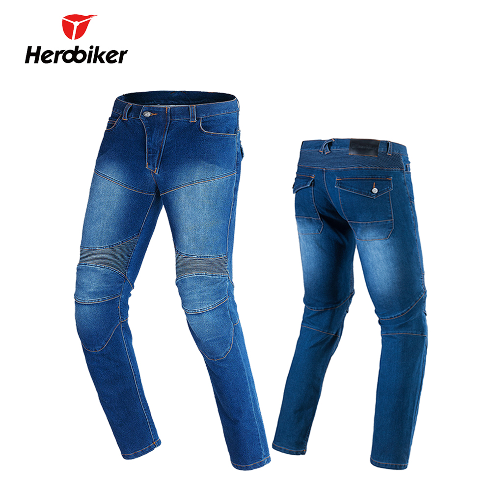 ФОТО HEROBIKER Men Motorcycle Pants Moto Riding Jeans With 4 Protectors Knee Pads Motocross Racing Pants Winter Warm Windproof
