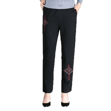 Chinese Style Woman Casual Black Pant Embroidery Pattern Trousers Middle Aged Women High Elastic Band Pants Plus Size Pantalones