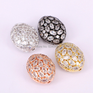 Image 5 - 5PCS ZYZ183 9817 Micro Pave CZ Oval Shape beads For Bracelet Necklace Jewelry Making Spacer Connector Metal Beads Findings