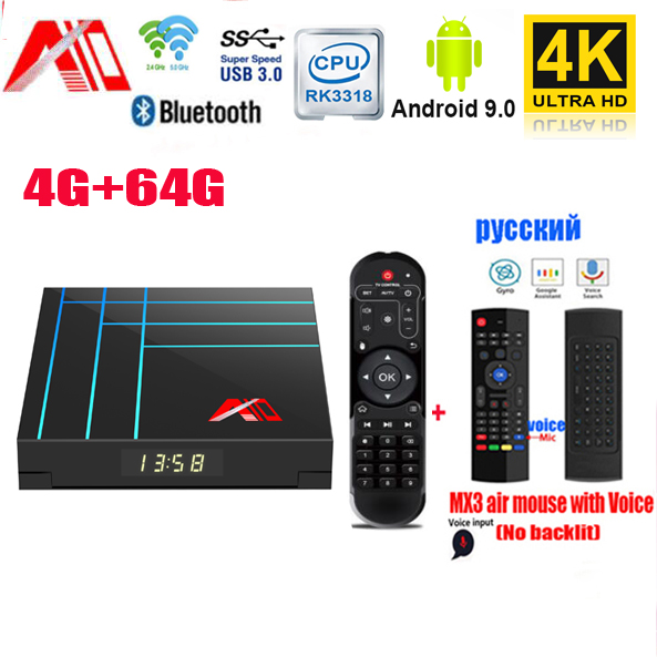 A10 Android TV Box Smart TV Boxs 4 GB 64 GB RK3318 Quad core Youtube 4 K HDR lecteur multimédia Google Play IPTV décodeur PK H96 MAX