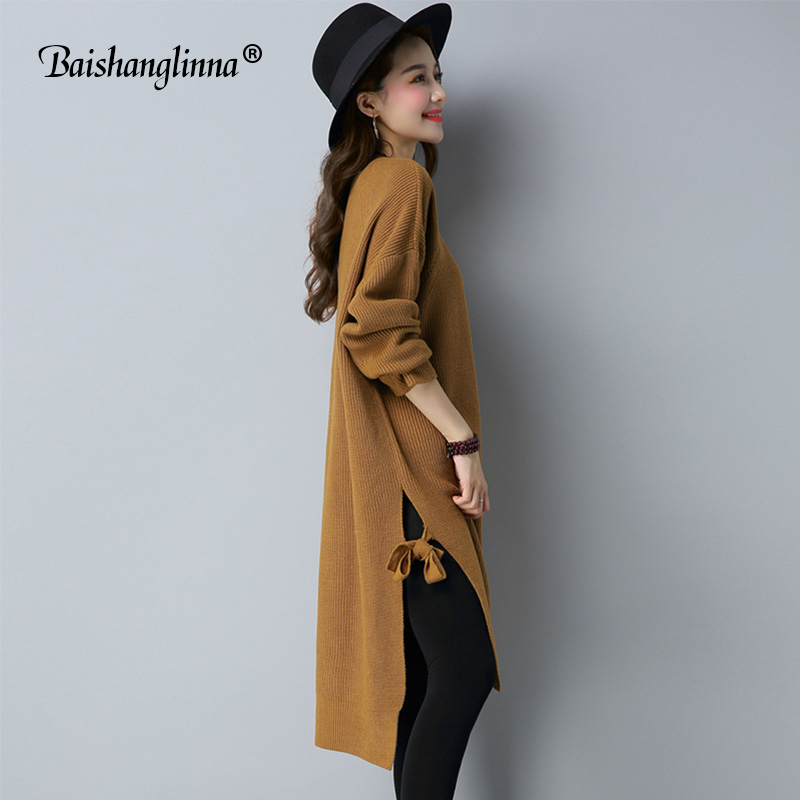 Baishanglinna Women Sweater Dress 2017 Long Sleeves Fashion Elegant Knitted Dresses Sexy loose Party Bodycon Sweaters Dress new long sleeves layered swing sweater dress