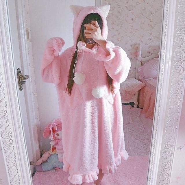 478149fa00 Autumn Women s Korean Fleece Clothes Cute Cat Ears Long Pajamas Night Dress  Winter Japan Lolita Style Kawaii Ruffles Home Dress